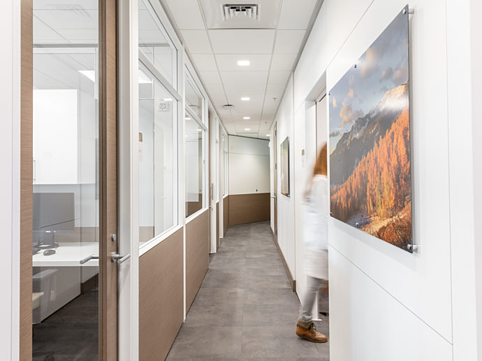 Hall way with Pre-Fabricated interior walls