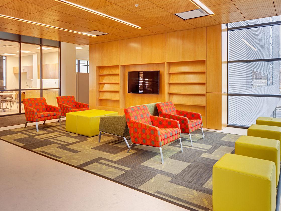 Colorful higher education lobby furniture at Utah State University